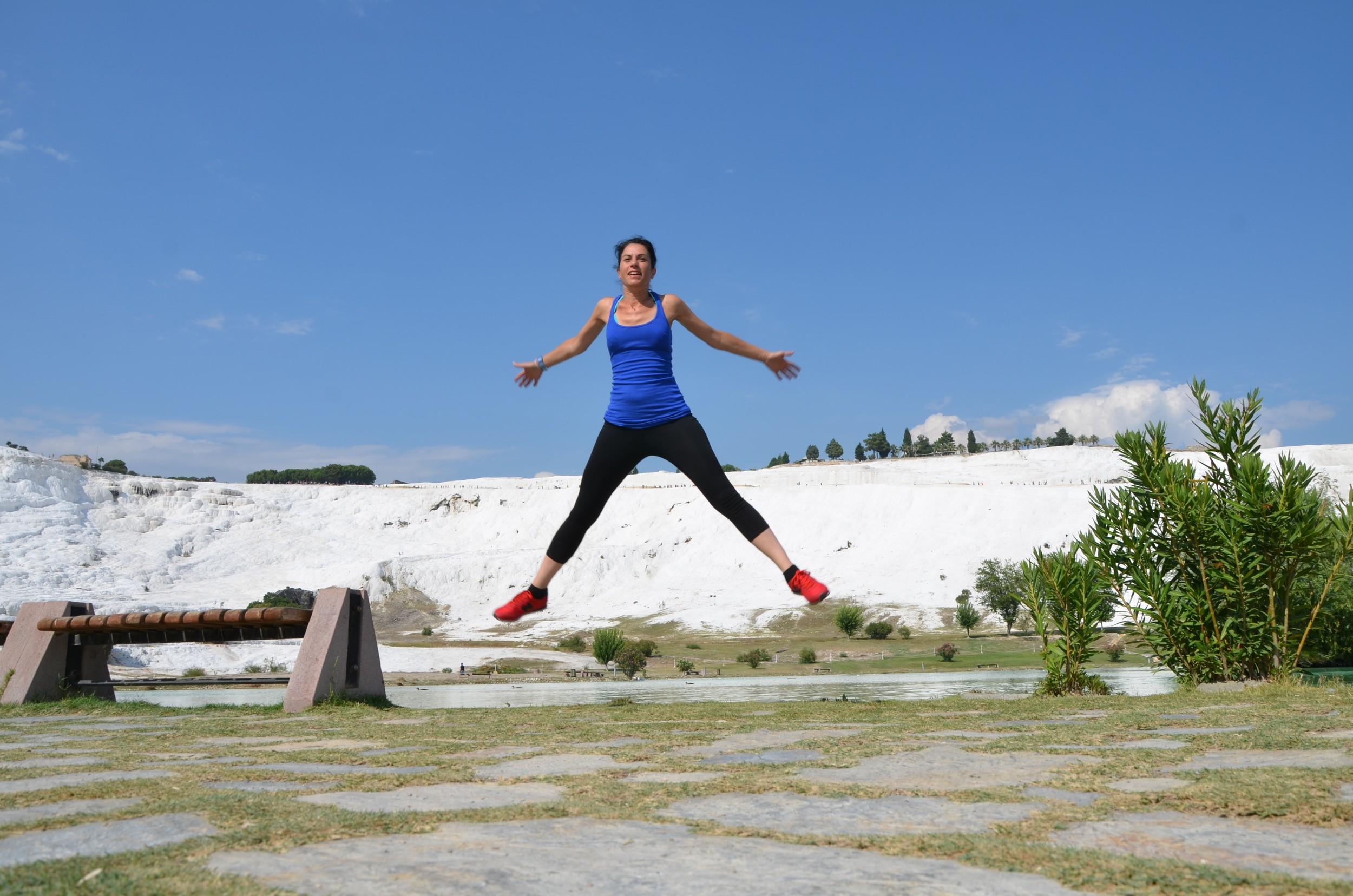 Jumping in Pamukkale