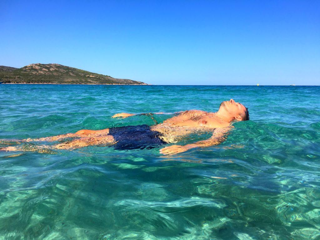Blue floating man