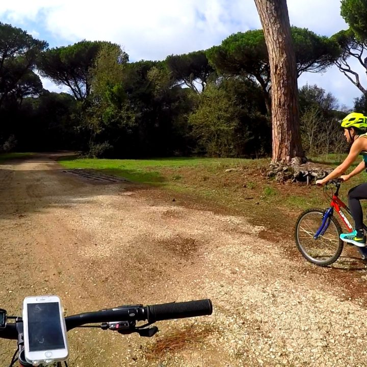 Cycling in pine forest of Castelfusano