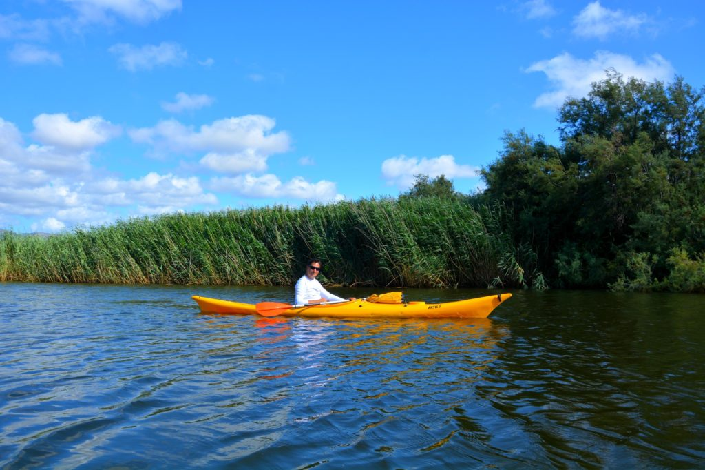 Kayaking along the mouth of the river Coghinas